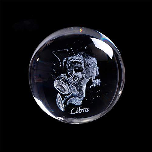 Laser inciso Segno Zodiacale Sfera di Cristallo in Miniatura 3D Decorazione Artigianale in Cristallo Sfera di Vetro Accessori Decorazione della casa Regalo (60mm, Libra)