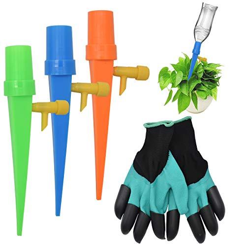 Guador Bewässerungssystem Topfpflanzen, 18 Stück Automatisch Bewässerung Set Einstellbar Steuerventilschalter mit 1 Paar Garten Handschuhe Krallen Wasserdicht für Topfpflanzen Garten Zimmerpflanze
