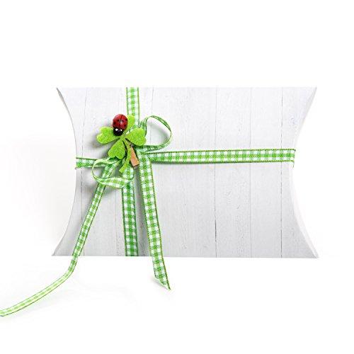 14 witte geschenkdoosjes kartonnen doosjes geschenkdoos 14,5 x 10,5 + 3 cm + 14 klavertjes + 14 groen wit geruite strik verpakking voor gastgeschenken kinderen oudejaarsavond verjaardag bruiloft