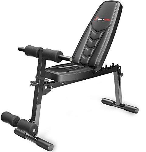Sportstech Banc de Musculation innovant 8en1 au Design Unique en matériau de Rembourrage EVA | système de Pliage Intelligent BRT500 Pliable | Pieds antidérapants | Banc Plat avec curlpult & Poster