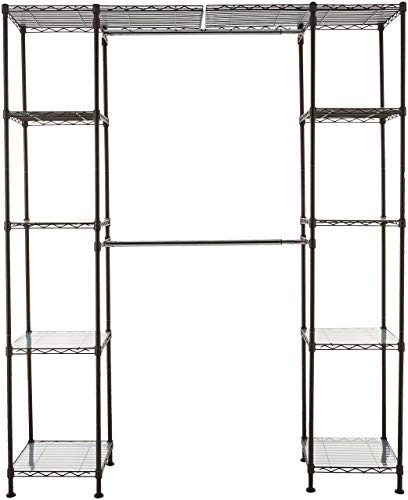 AmazonBasics Expandable Metal Hanging Storage Organizer Rack Wardrobe with Shelves, 14'-63' x 58'-72', Bronze (Renewed)