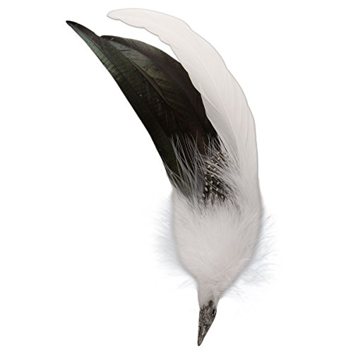 Alpenflüstern Alpenflüstern Damen Hahnenfeder-Brosche Hutfeder Farbenfroh API04600010, Weiß, ca. 25 cm lang