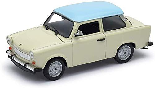 Welly-OOTB Original lizenziert Trabant 601 Modell-Auto DDR Trabbi Maßstab 1:60 Modell Auto, Sammlerstück (Beige-Weiß)