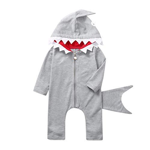 Mamum Toddler Girls Boys Cartoon Costume De Requin Zipper Romper Hoodie Jumpsuit Vêtements Jupe Jarretelles