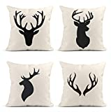 ArtSocket Set of 4 Throw Pillow Covers Stag of Deer Head Silhouette White Reindeer Antlers Moose Horn Decor Linen Pillow Cases Home Decorative Square 18x18 Inches Pillowcases
