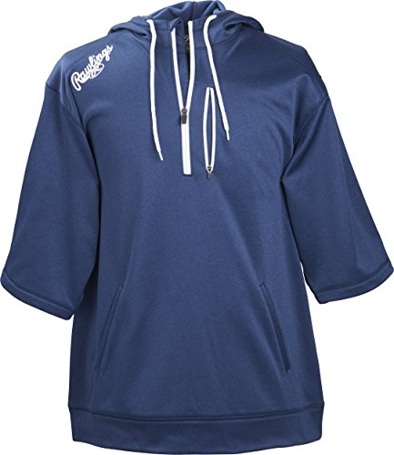Rawlings Men's Short Sleeve Hoodie, Navy, X-Large
