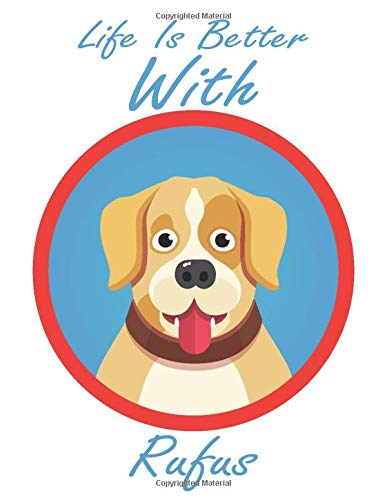 Life is Better With Rufus: Sketchbook & journal Gift, 100 Pages, 8.5''x11'', Soft Cover, Matte Finish labrador sketchbook for Girls who loves Animals, Birthday labrador sketchbook for Kids