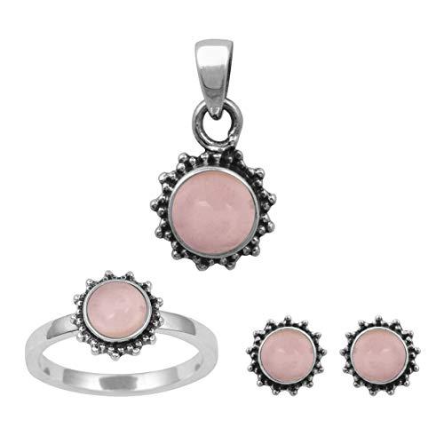 Shine Jewel 925 Plata esterlina Cuarzo Rosa Piedras Preciosas Solitario Bisel Conjunto Anillo de patrón de Flor, Pendiente, Colgante Conjunto Joyas (20)