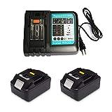 Ersatz 3A Schnellladegerät mit 2X Akku 18V 5.0Ah für für Makita Baustellenradio DMR100 DMR108 DMR107 DMR106 DMR106B DMR102 DMR104 DMR110 DMR101 DMR103B BMR102 BMR100 BMR104 18 Volt Radio Batterie