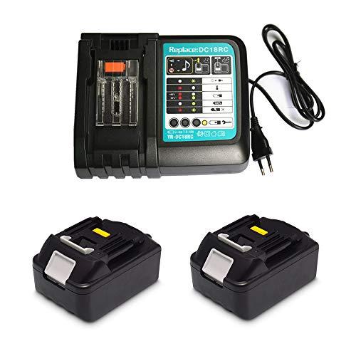 Ersatz Ladegerät mit 2X Akku 18V 3.0Ah für Makita Baustellenradio DMR107 DMR108 DMR110 DMR112 DMR114 DMR115 DMR102 DMR103 DMR104 DMR105 DMR106 DMR109 DMR100 BMR100 18 Volt Radio