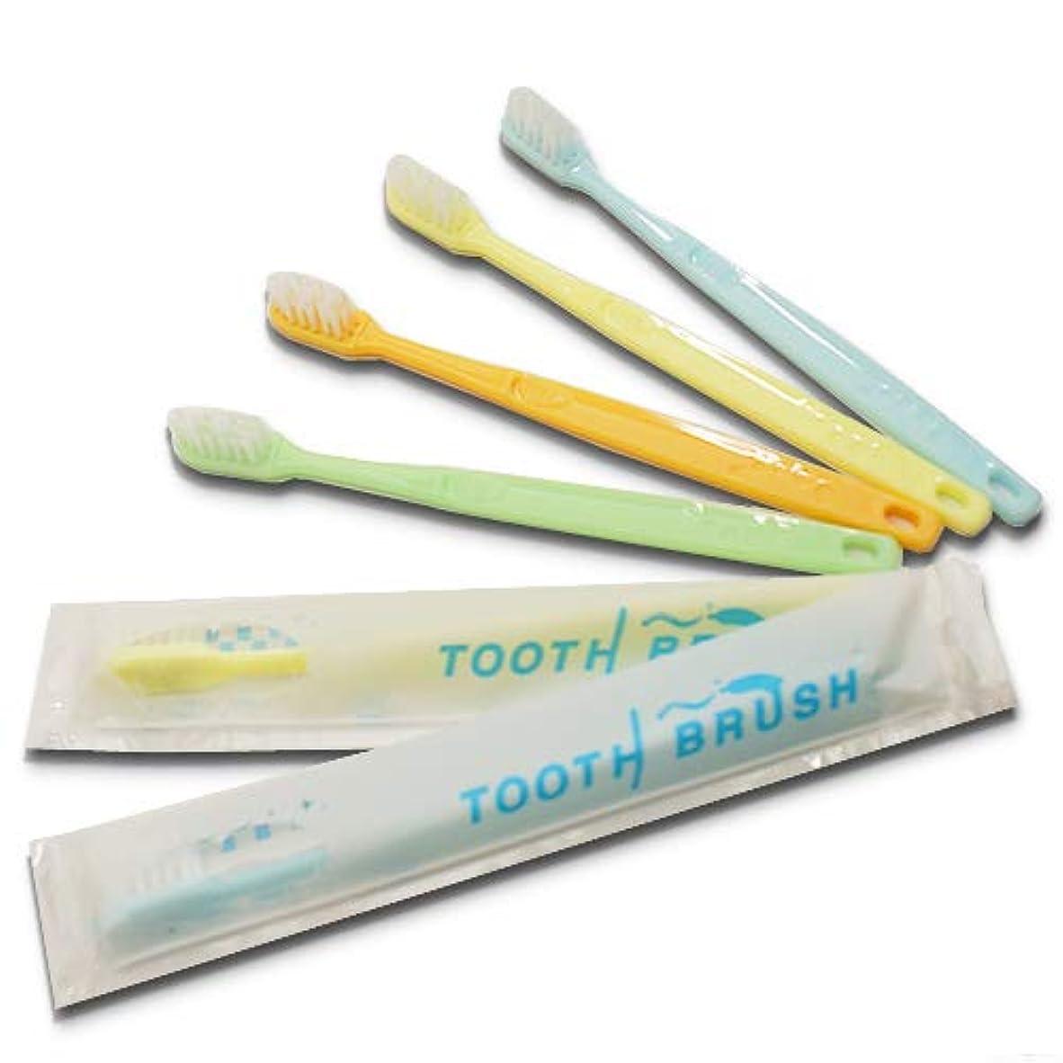 やる命令リハーサル業務用インスタントハブラシ 100本 歯みがき粉付着タイプ 国産│使い捨て歯ブラシ 激安 カラー ビジネスホテル宿泊施設で