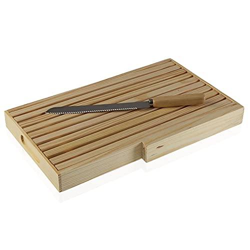 MGE - Planche à Pain avec Compartiment Ramasse Miette et Couteau - Planche à Découper avec Grille Amovible - 36 x 25 cm