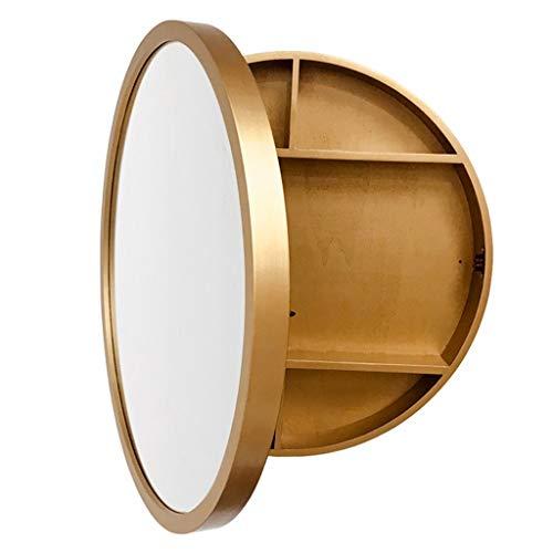 Spiegelschränke Badezimmer Massivholz Badezimmerspiegel Badezimmer Rasierspiegel Runde Badezimmerspiegel Wandspiegel Große Lager (Color : Gold, Size : 60x60x13.5cm)