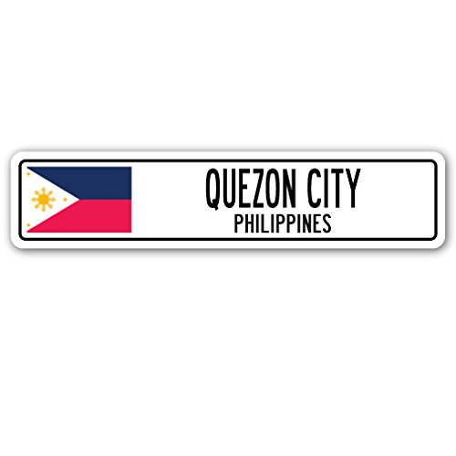 Quezon City, Philippines Street Sign Filipino Flag City Country Road Wall Gift