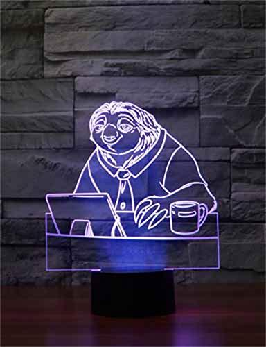 Crazy Animal City lumière de nuit 3D / lumière décorative LED, 7 couleurs, base noire, tactile/télécommande, décoration de chambre à coucher de bureau, jouets