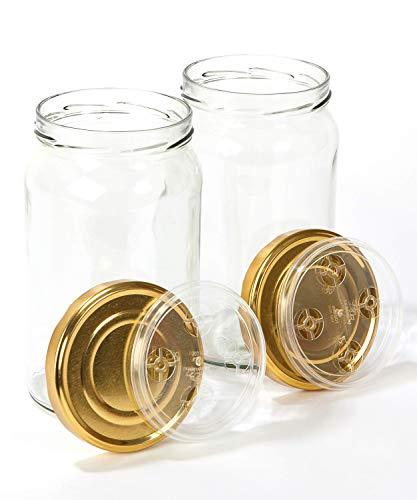Pack de 2 Tarros de Cristal Grandes con Tapa (1966 ml)- Especial para Hacer Conservas, Fermentación y Encurtidos.