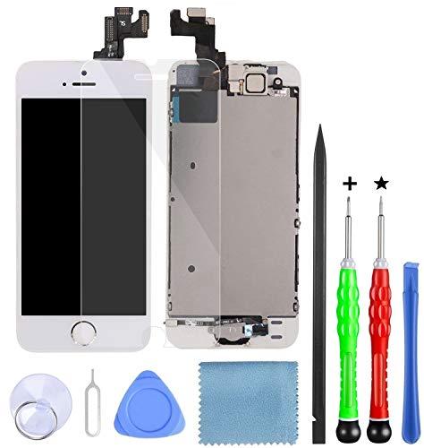 Lansupp Pantalla para iPhone 8 Plus Blanco, Táctil LCD Reemplazo con botón de Inicio,Cámara Frontal, Sensor de proximidad, Altavoz y Kit de reparación