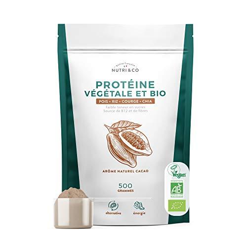 Protéine Vegan BIO   4 Sources : Pois, Riz, Chia et Courge   Alternative à la Whey   Riche en BCAA   Mélange Onctueux sans Grumeaux   Goût Naturel Cacao   Sans Excipients   Vegan   500g   Nutri&Co
