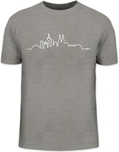 Shirtstreet24, Skyline Köln, Cologne Kölle Karneval Herren T-Shirt Fun Shirt Funshirt, Größe: M,Graumeliert