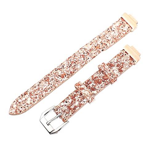 ibasenice Bandas de Reloj de Cuero con Brillo Correa de Reloj Reloj Inteligente Reemplazo de Pulsera con Hebilla de Metal Compatible con Fitbit Inspira Rosa de Oro
