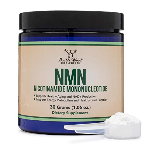 NMN Powder, 30 Grams of Stabilized Form (One Scoop Equals 1-1.6 Grams) (Nicotinamide Mononucleotide), Third Party Tested, to Boost NAD+ Levels like Riboside for Anti Aging by Double Wood Supplements