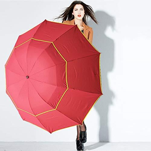 NJSDDB paraplu 130cm Grote Paraplu Mannen Regen Vrouw Winddicht Grote Paraguas Mannelijke Vrouwen Zon 3 Drijvende Grote Paraplui Outdoor Russische Federatie Rood
