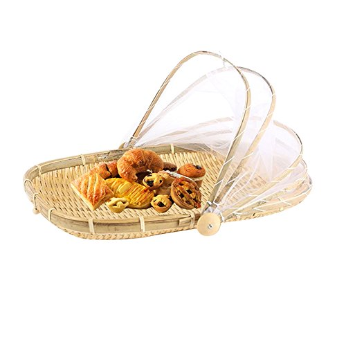 AllGreen Hand-Woven Food Serving Tent Basket Fruit Vegetable Bread Cover Storage Container Outdoor Picnic Food Cover Mesh Tent Basket with Gauze(Bug- proof, Dust-proof) Keep Out Flies, Bugs, Mosquito