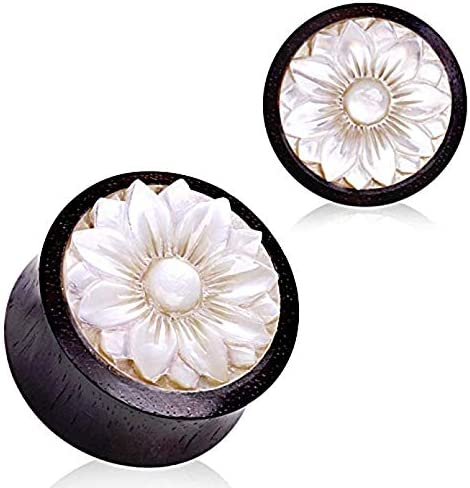 Covet Jewelry Organic Sono Wood with Mother of Pearl Lotus Plug