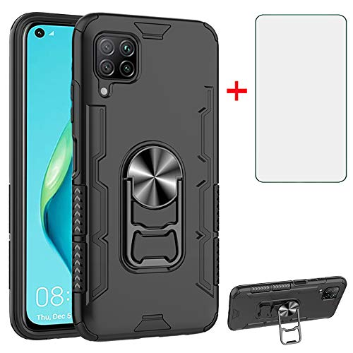 Phone Case for Huawei P40 Lite/Nova 6 SE/Nova 7I with Tempered Glass Screen Protector Cover Magnetic Stand Ring Holder Slim Hybrid Hard Cell Accessories Hawaii P40Lite P 40 40Lite JNY-LX1 Cases Black