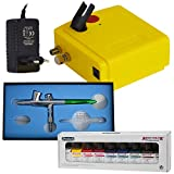 AIRBRUSHING SET - DUAL ACTION AIRBRUSH GUN - AIRBRUSHING KIT - Professional Airbrush Set I with Aero Color Set Box Primary Colours Set 9 x 28 ml Schmincke 81 108 - Limited Special.