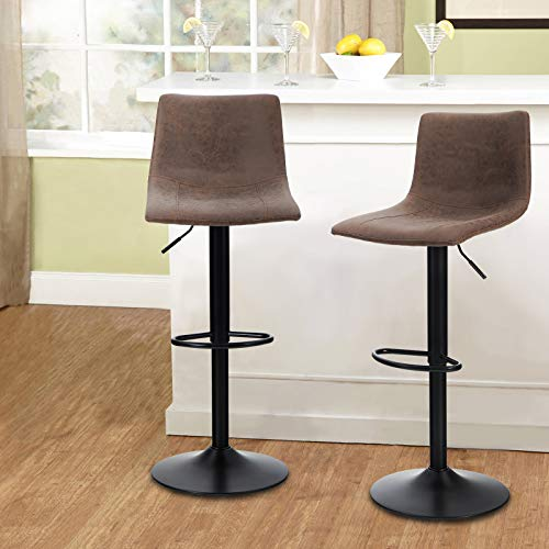 MAISON ARTS Swivel Bar Stools Set of 2 for Kitchen Counter Adjustable Counter Height Bar Chairs with Back Tall Barstools...
