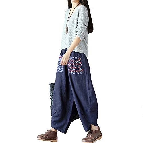 Fansu Pantalón Pierna Ancha de Lino Mujer, Boho Flor Baggy Harem Pantalones con Bolsillo Oficina Deportivos Yoga Moda Cintura Elástica Sueltos Casuales Largos Pants
