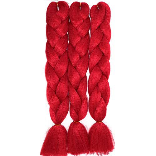 60cm Jumbo Braid Flechten Hair Extensions Braids Extensions Synthetik Braiding Crochet Hair Kunsthaar 3 packs 300g Haarteile (Rot)