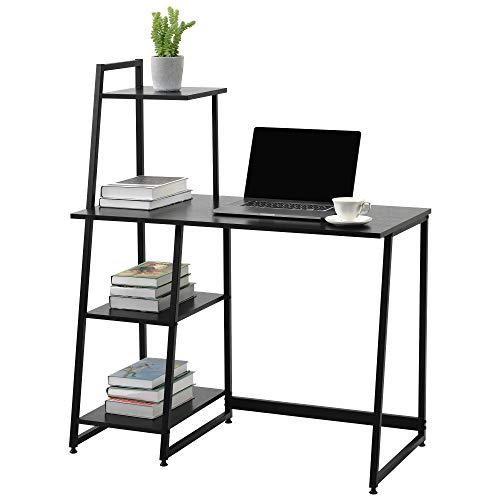 Scrivania per computer portatile, tavolo da ufficio, ufficio, con ripiani per ufficio, soggiorno, struttura in acciaio, design industriale, 100 × 50 × 119 cm, colore nero