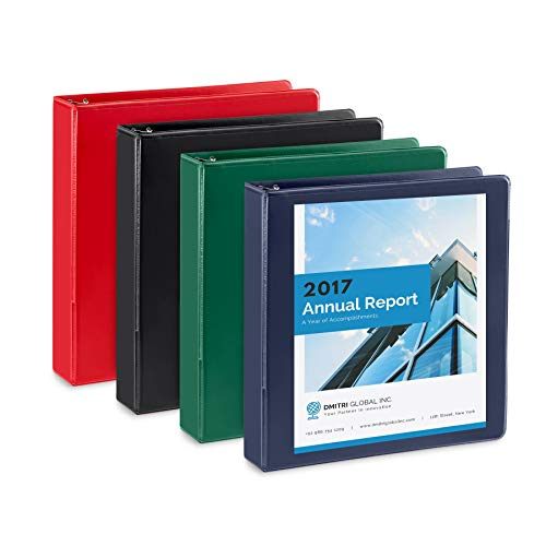 4 Pack 1.5 inch 3 Ring Binders, Rugged Design for Home, Office, and School, Designed for of 8.5 Inch x 11 Inch Paper, Black, Navy, Red, Green, 4 Binder Assorted Pack, Made in USA