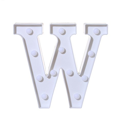 Fasclot Alphabet LED Letter Lights Light Up White Plastic Letters Standing Hanging W Home & Garden Home Decor