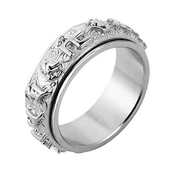 HZMAN Men s Women s Tibetan Buddhist Mantra Om Mani Padme Hum 8MM Stainless Steel Spinner Ring Wedding Band  Silver 12