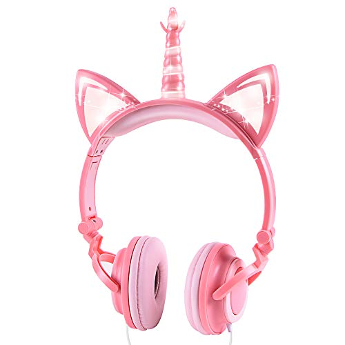 Sunvito Einhorn Kinder Kopfhörer, LED Light Up Unicorn Cat Ear Headphones Faltbar Wired Over On Ear Headset für Jungen, Mädchen, Kind, Costume Party (Peach)