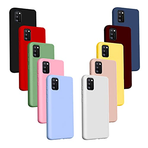 Jilicsan 10X Fundas para Samsung Galaxy A51 4G,Carcasa Silicona de Color Sólido Anticaída,Cubierta Flexible Ultrafina a Prueba de Arañazos y Golpes-10 Colores