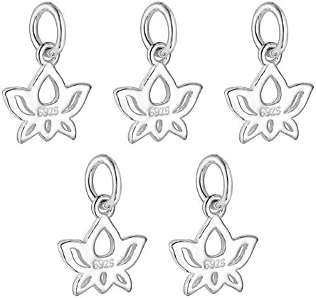HooAMI 925 Sterling Silver Lotus Flower Charms Pendant DIY for Jewelry Making and Crafting 5pcs product image