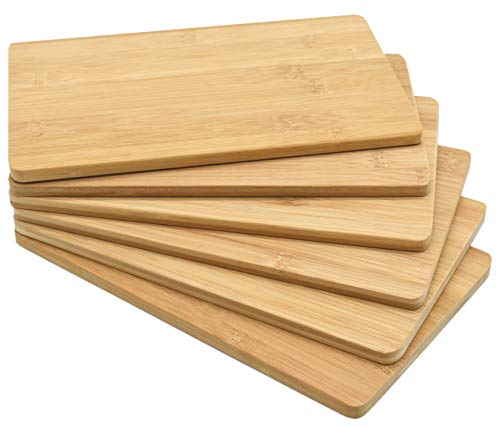 6er Set Bambus Frühstücksbrettchen Brettchen Frühstücksbrett Schneidebrett Holz - 24 x 15 x 0,8cm