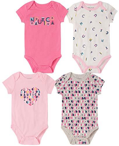 Nautica Baby Girls 4 Pieces Pack Bodysuits, Pink/Vanilla, 3-6 Months