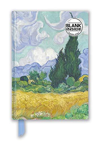 Premium Notizbuch Blank DIN A5: Vincent van Gogh, Weizenfeld mit Zypressen: Unser hochwertiges Blankbook mit festem, künstlerisch geprägtem Einband (Premium Notizbuch DIN A 5 mit Magnetverschluss)