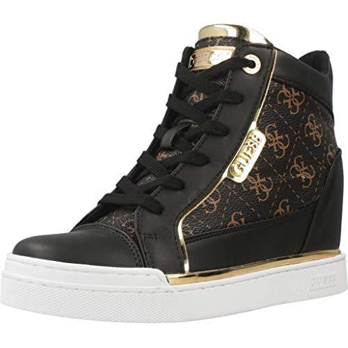 GUESS Zapatillas de Zapatos de Mujer con cuña Interna FL7FABFAL12 Negro Talla 36 Negro