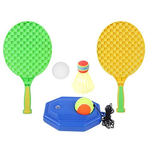 DAUERHAFT Juego de Raquetas de Tenis de Entretenimiento 6 en 1, Juego de Entrenamiento de Tenis Duradero para niños, Juego de Entrenador Inteligente con Cuerda elástica para niños