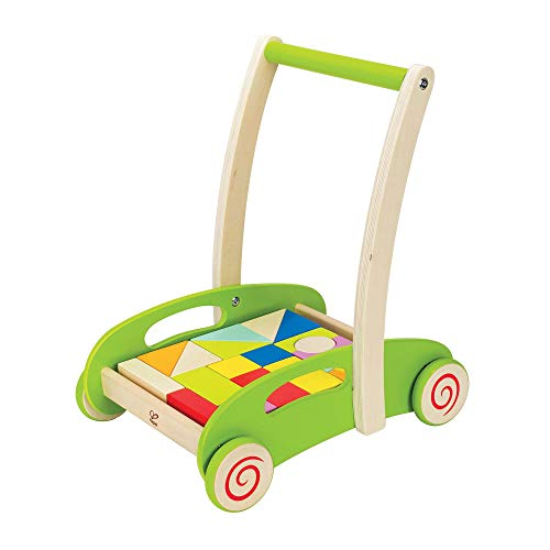 Hape Block and Roll Cart Toddler Wooden Push and Pull Toy Multicolored, L: 13.9, W: 11.1, H: 16.1...