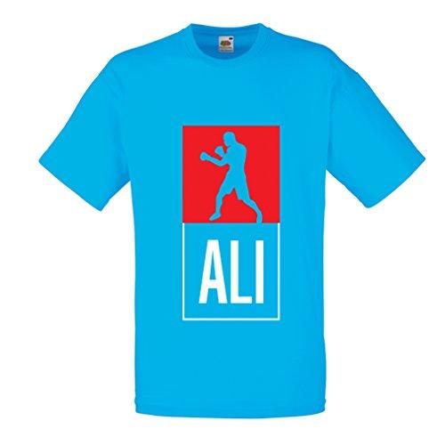 Männer T-Shirt Boxing - in Fight Style Für Training, Sport, Übung, Laufen, Fitness Kleidung (X-Large Blau Mehrfarben)