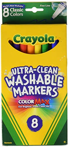 Crayola Ultra-Clean Washable Markers, Color Max, Fine Line Classic Colors 8 Ea (Pack of 2)