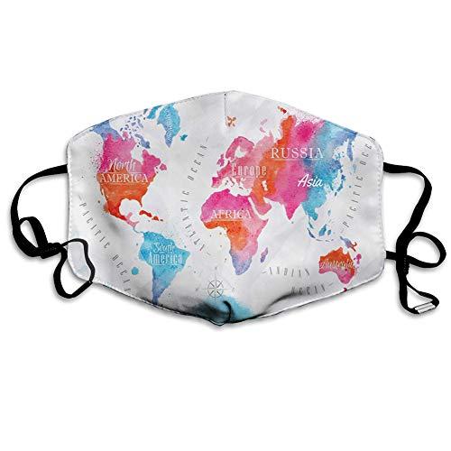 Multifunktionale Gesichtsschutzhülle,Watercolored World Map Continent and Ocean Names Written,edruckte Wiederverwendbare Unisex-Gesichtsdekorationen,Persönlicher Schutz