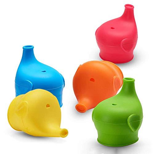 Sippy Cup Lids Spill Leak Proof Cup Deckel für Babys Kleinkinder Kids Soft Silikon Cup Deckel Elephant Nose Form Fit 5-9cm Durchmesser Cup Flasche FDA sicher BPA frei